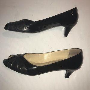 Bruno Magli Shoes - Bruno Magli Peep Toe Patent & Leather Low Heel